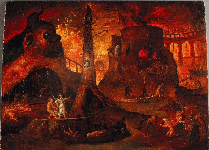 L0030887 An angel leading a soul into hell. Oil painting by a followe